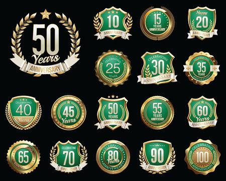 Set of Golden Anniversary Badges. Set of Golden Anniversary Signs. Illustration