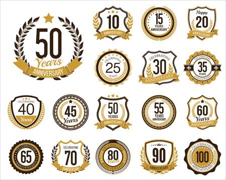 Set of Golden Anniversary Badges. Set of Golden Anniversary Signs. Vintage. Illustration