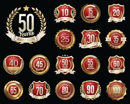 th: Set of Golden Anniversary Badges. Set of Golden Anniversary Signs. Illustration