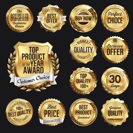 Set of Retail  Gold Retail Badges on Black Background. Çizim