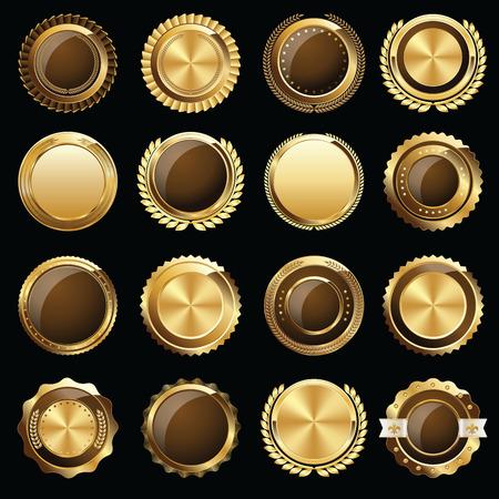 Set of Gold Certificate Seals and Badges Stock Illustratie