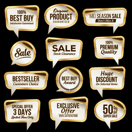 Luxury Sale Stickers Collection. Scroll Paper. Illustration