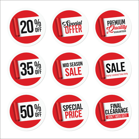 Promotional Sale Stickers Collection. Torn Paper. Stock Illustratie