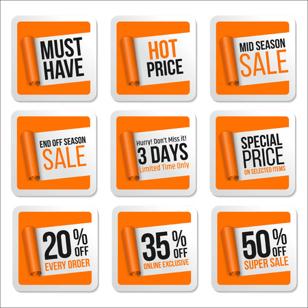 scroll paper: Promotional Sale Stickers Collection. Scroll Paper.