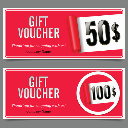 scroll paper: Gift Voucher. Badge with Gift Value. Red. Scroll Paper.