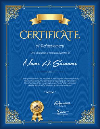 Certificate of Achievement Vintage Frame. Portrait. Illusztráció