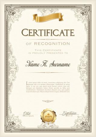 Certificate of Recognition Vintage Frame met gouden lint. Portret. Stock Illustratie