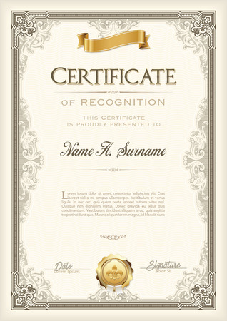 Certificate of Recognition Vintage Frame with Gold Ribbon. Portrait. Vettoriali