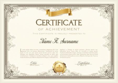 Certificate of Achievement Vintage Frame met gouden lint. Landschap. Vector Illustratie