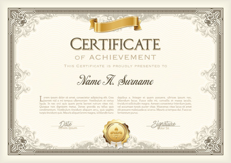 Certificate of Achievement Vintage Frame with Gold Ribbon. Landscape. 版權商用圖片 - 57913689