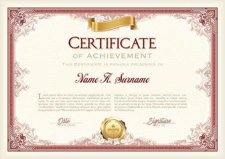 Certificate of Achievement Vintage-Rahmen mit Goldband. Landschaft.