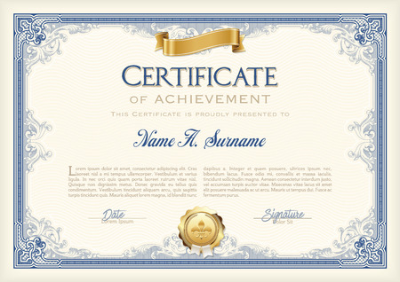 Certificate of Achievement Vintage Frame with Gold Ribbon. Landscape.