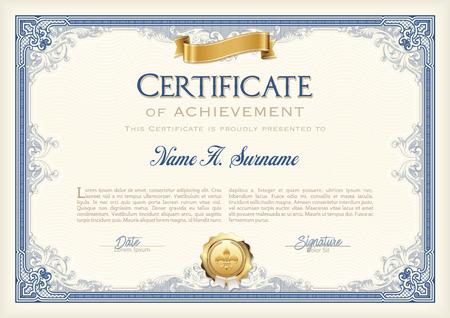 Certificat de réussite Vintage Frame avec ruban d'or. Paysage.