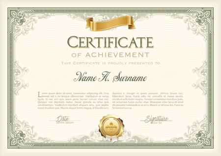 acknowledgement: Certificate of Achievement Vintage Frame with Gold Ribbon. Landscape.