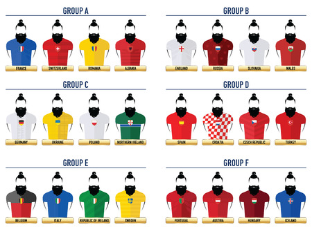 Euro France Football 2016. Hipster Icons. Illustration