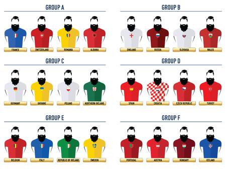 Euro France Football 2016. Hipster Icons. 向量圖像