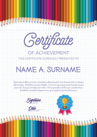 Certificate Template with Colorful Pencil Frame for Children. Portrait. Vectores