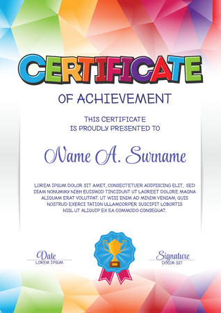 Certificate Template with Colorful Frame for Children. Portrait. Vettoriali