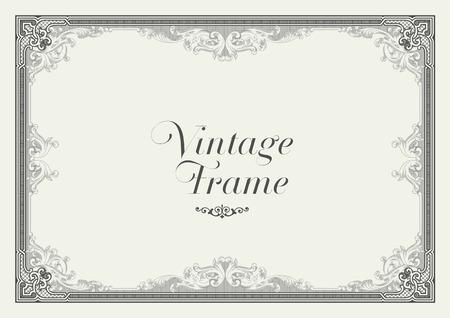 vintage floral frame: Vintage Ornament Border. Decorative Floral Frame.
