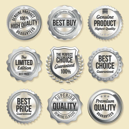 best quality: Silver Shiny Luxury Badge. Luxury Set. Best Choice. Best Price. Limited Edition. Illustration