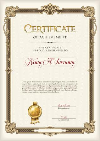 Certificate of Achievement Vintage Frame. Portrait. Illustration