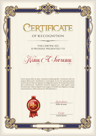 Certificate of Recognition Vintage Frame. Portrait. 版權商用圖片 - 59034930