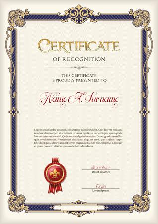 Certificate of Recognition Vintage Frame. Portrait.