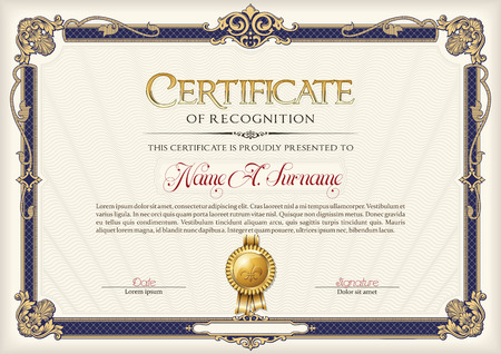 Certificate of Recognition Vintage Frame.