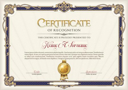 Certificate of Recognition Vintage Frame. Zdjęcie Seryjne - 59034935