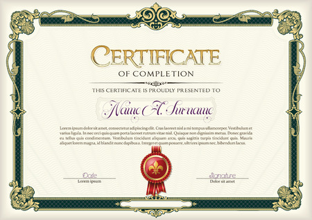 Certificate of Completion Vintage Frame.