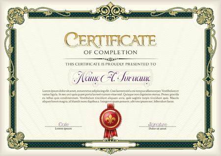 completion: Certificate of Completion Vintage Frame.