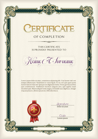 Certificate of Completion Vintage Frame. Portrait.
