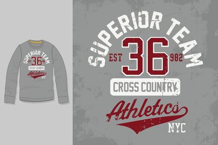 T-shirt print. Graphic design. Artwork. Superior Team. 向量圖像