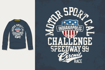 motor sport: T-shirt print. Graphic design. Artwork. Motor Sport.
