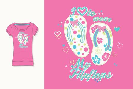 T-shirt print. Graphic design. Artwork. Flips Flops.