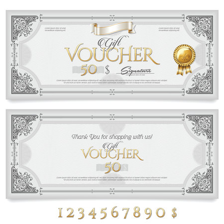 Gift Voucher with Ornaments Иллюстрация