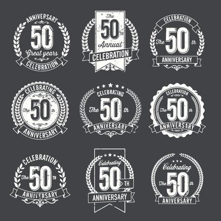 50th: et of Retro Anniversary Badges 50th Year Celebration Illustration