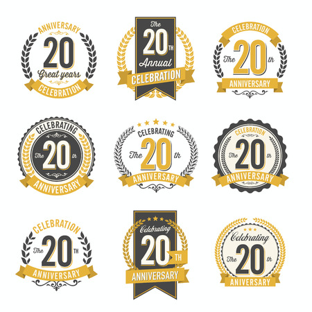 20th: Set of Retro Anniversary Badges 20th Year Celebration Illustration
