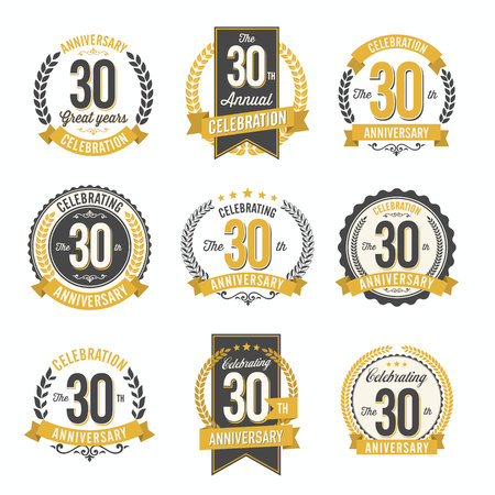 Set of Retro Anniversary Badges 30th Year Celebration