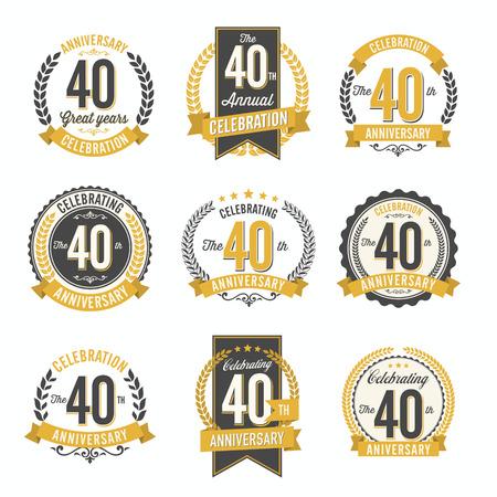 Insieme di retro Anniversario Badges 40 ° anno di celebrazione