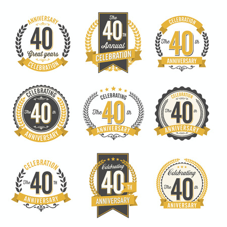 Set of Retro Anniversary Badges 40th Year Celebration