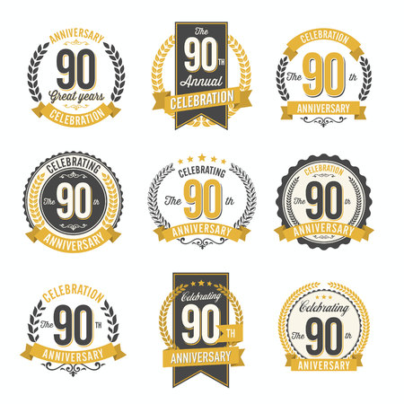90th: Set of Retro Anniversary Badges 90th Year Celebration