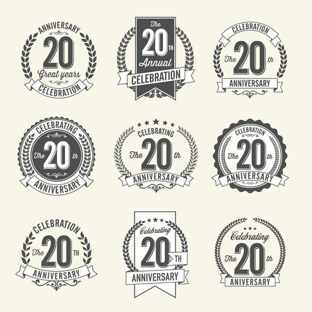 20th: Set of Vintage Anniversary Badges 20th Year Celebration. Black and White. Illustration