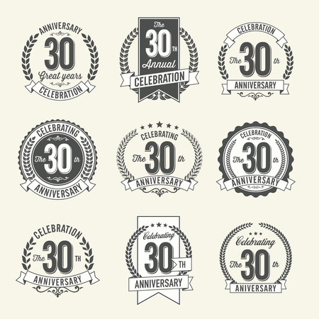 Set of Vintage Anniversary Badges 30th Year Celebration. Black and White.