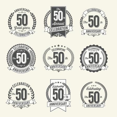 Set of Vintage Anniversary Badges 50th Year Celebration. Black and White. Vektoros illusztráció