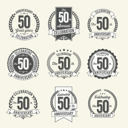 50th: Set of Vintage Anniversary Badges 50th Year Celebration. Black and White.