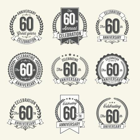 60th: Set of Vintage Anniversary Badges 60th Year Celebration. Black and White. Illustration