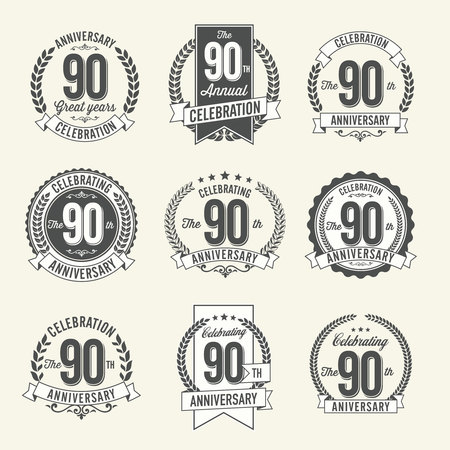 90th: Set of Vintage Anniversary Badges 90th Year Celebration. Black and White.