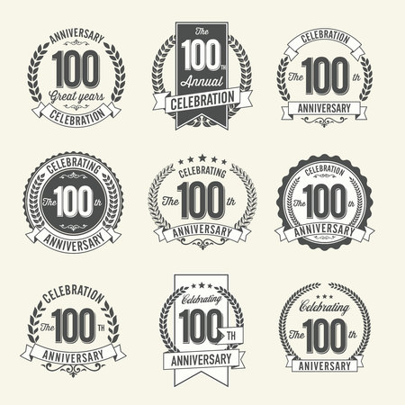 Set of Vintage Anniversary Badges 100th Year Celebration. Black and White.