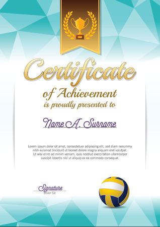 成就证书奖励证书。排球证书。肖像。